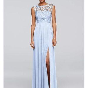 David's Bridal Dress Floor Length Ice Blue